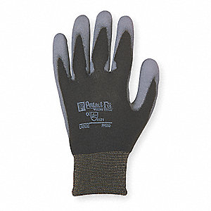 Smooth Polyurethane Coated Gloves, Size S, Black/Gray