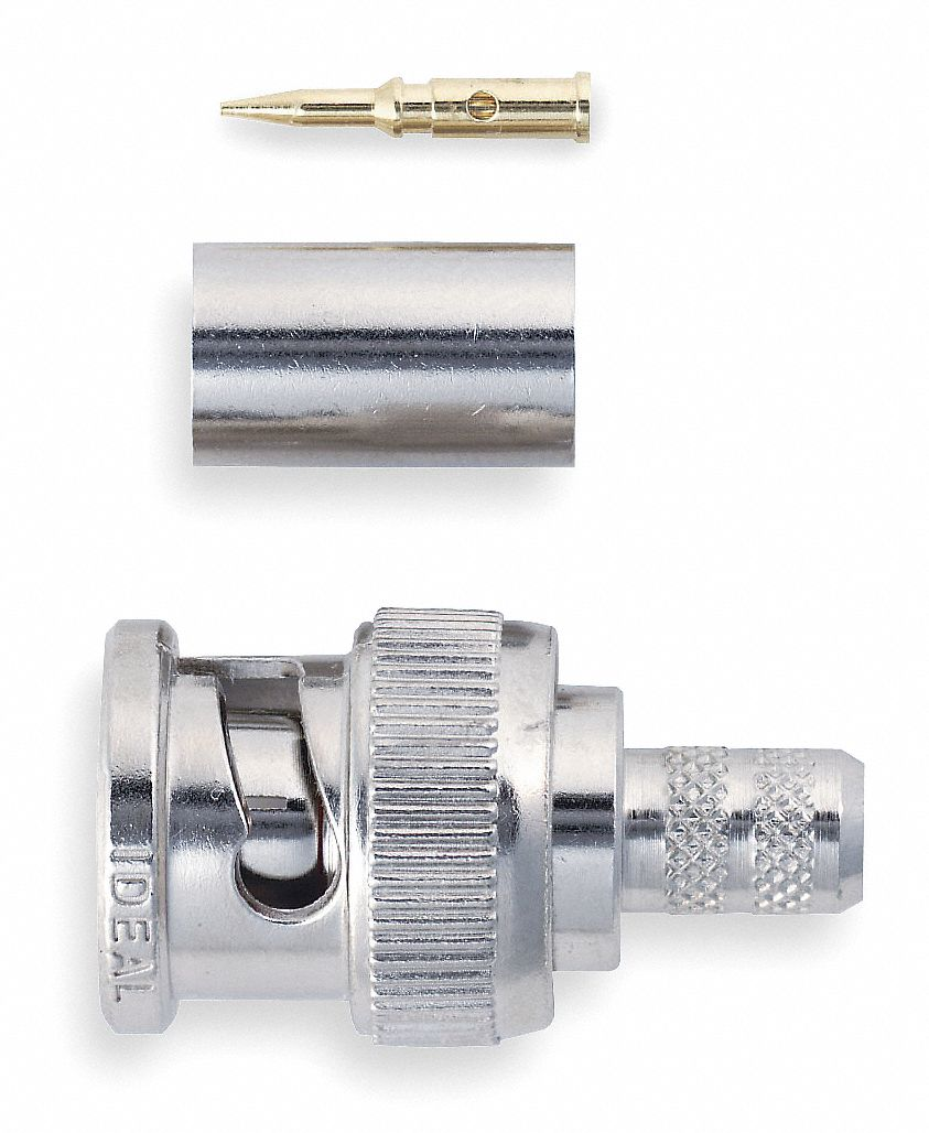 Coaxial Connector,  BNC Male,  RG-59,  Silver,  0 to 3 GHz,  PK 5