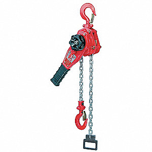 "Lever Chain Hoist, 1650 lb. Load Capacity, 15 ft. Lift, 15/16"" Hook Opening"