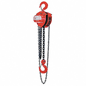 "Manual Chain Hoist, 2000 lb. Load Capacity, 20 ft. Lift, 1-1/8"" Hook Opening"