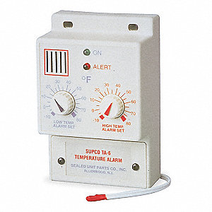 Temperature Alarm,-10 to 80F,120VAC
