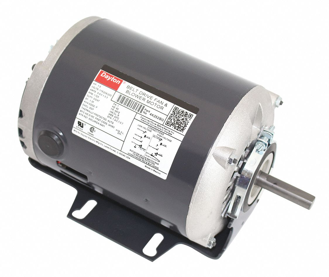 Dayton Belt Drive Motor 1 3 Hp Split Phase Nameplate Rpm 1 725 No Of Speeds 1 4k252 4k252 Grainger