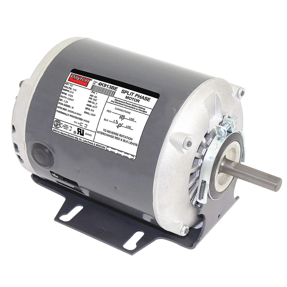 1/2 HP General Purpose Motor,Split-Phase,1725 Nameplate RPM,Voltage Dayton Split Phase Electric Motor Wiring Diagram on