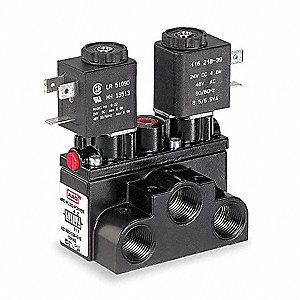 "3/8"" 24VDC 4-Way, 2-Position Solenoid Air Control Valve"