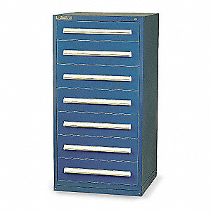 "Stationary Full Height Modular Drawer Cabinet, 7 Drawers, 30""W x 27-3/4""D x 59""H Dark Blue"