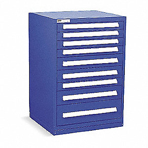 "Stationary Counter Height Modular Drawer Cabinet, 9 Drawers, 30""W x 27-3/4""D x 44""H Dark Blue"