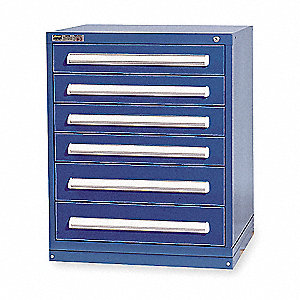 "Stationary Desk or Table Height Modular Drawer Cabinet, 6 Drawers, 30""W x 27-3/4""D x 37""H Dark Blue"