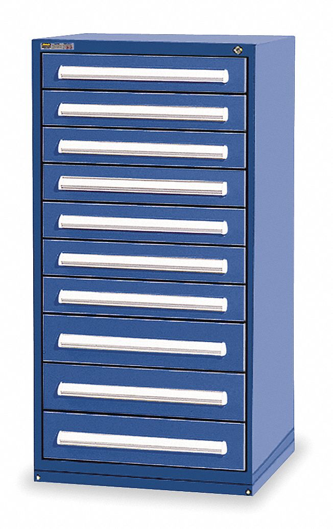 Stationary Full Height Modular Drawer Cabinet, 10 Drawers, 30 inW x 27 3/4 inD x 59 inH Dark Blue