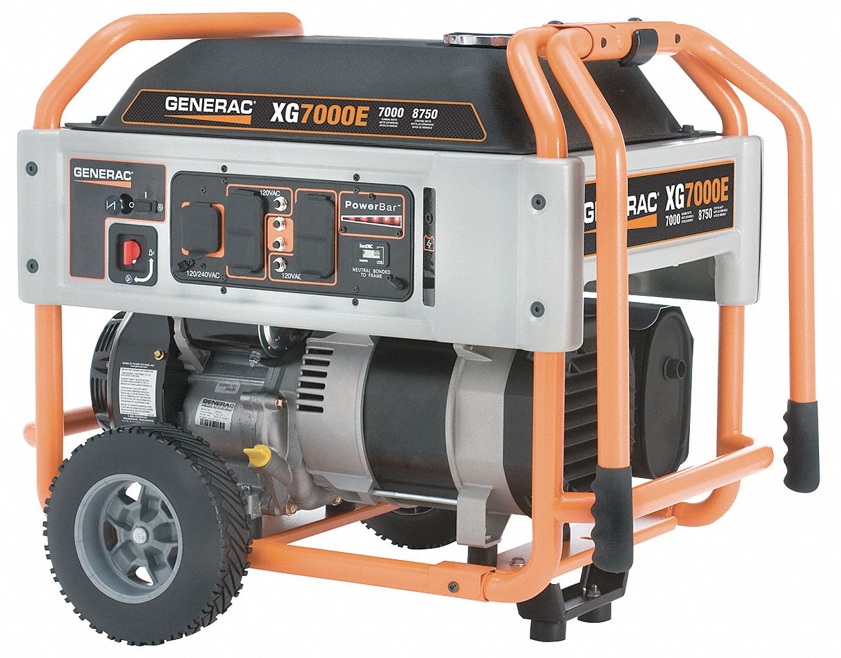 GENERAC Electric/Recoil Gasoline Portable Generator, 7000 Rated Watts, 8750  Surge Watts, 120VAC/240VAC - 4KCD3|5798 - Grainger