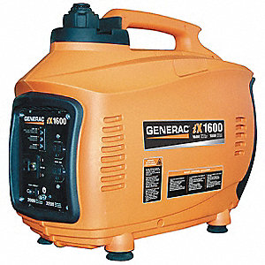 Portable Inverter Generator, 120VAC Voltage, 1600 Rated Watts, 1650 Surge Watts, 13.3/NA Amps @ 120/