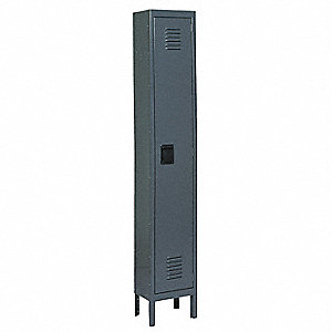 "Gray Wardrobe Locker, (1) Wide, (1) Tier Openings: 1, 18"" W X 18"" D X 78"" H"
