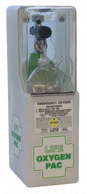 566 L Emergency Oxygen Unit with 6 or 12 Lpm Flow Rate; Includes Regulator, Mask, Hose, Case, Wall M