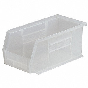 "Hang and Stack Bin, Clear, 18"" Outside Length, 8-1/4"" Outside Width, 9"" Outside Height"