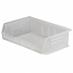 "Hang and Stack Bin, Clear, 10-7/8"" Outside Length, 16-1/2"" Outside Width, 5"" Outside Height"