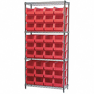 "36"" x 14"" x 74"" Bin Shelving with 2000 lb. Load Capacity, Red"