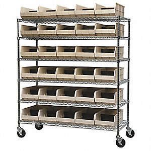 "60"" x 24"" x 68"" Mobile Bin Shelving with 500 lb. Load Capacity, Beige"