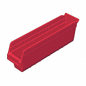 "Shelf Bin, Red, 6""H x 17-7/8""L x 4-1/8""W, 1EA"