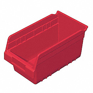 "Shelf Bin, Red, 6""H x 11-5/8""L x 6-5/8""W, 1EA"