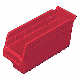 "Shelf Bin, Red, 6""H x 11-5/8""L x 4-1/8""W, 1EA"
