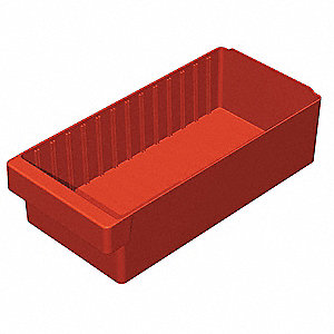 Drawer Bin,17-5/8 x 8-3/8 x 4-5/8 In,Red