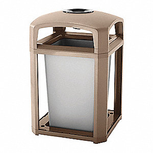 "Landmark Series® 35 gal. Square Ash Top Decorative Ash/Trash Can, 40""H, Brown"