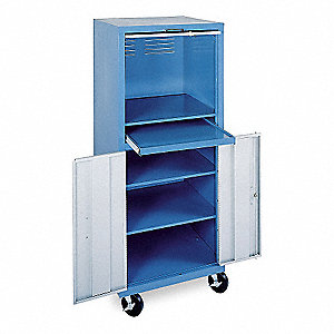"26"" x 24"" x 64"" Steel Mobile Computer Cabinet, Blue/Light Gray"