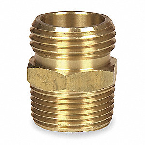 "Brass Hose To Pipe Adapter, 3/4"" MGHT x 3/4"" MNPT x 1/2"" FNPT Connection"