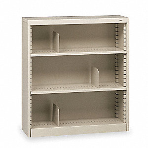 Bookcase,Steel,3 Shelves,Putty