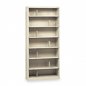 "38"" x 12"" x 84"" Stationary Bookcase with 7 Shelves, Champ/Putty"