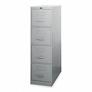 "15"" x 25"" x 52"" 4 File Cabinet, Light Gray"