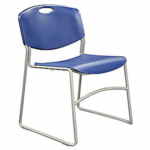 Gray Steel Stacking Chair with Blue Seat Color, 1EA