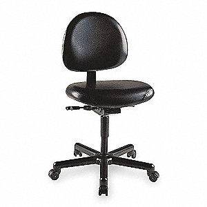 "Black Vinyl Desk Chair, 39"" Overall Height"