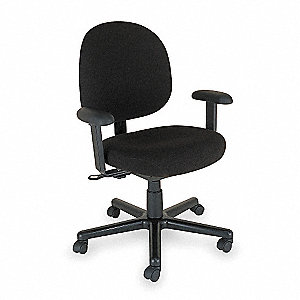 Chair,Desk,Black Fabric,Adjustable Arms