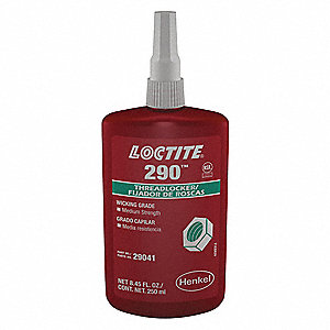 290 Series Medium-Strength Wicking Grade Threadlocker, Green Liquid, 250mL Bottle