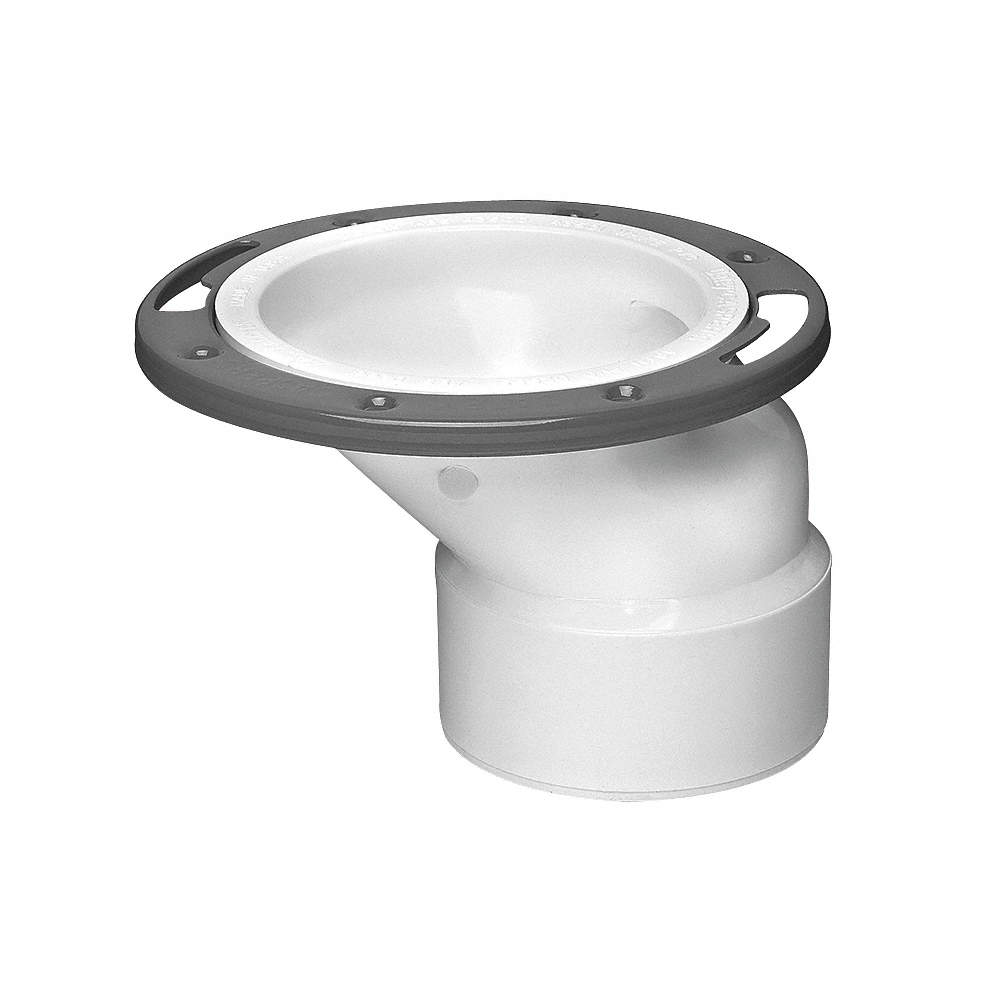 PVC, Offset Toilet Flange, White, Most Toilets, 2