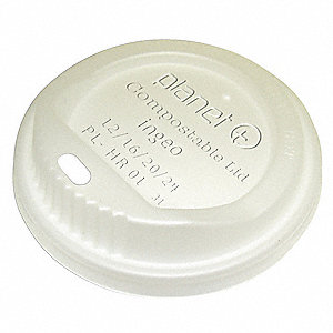 Biodegradable, Crystallized Plastic Sip Thru Hot Cup Lid, Translucent&#x3b; PK500