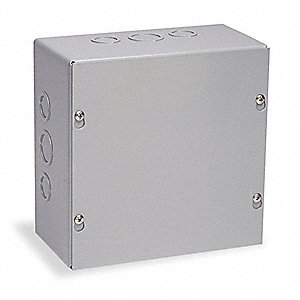 "24""H x 18""W x 4""D Metallic Enclosure, Gray, Knockouts: Yes, Screws Closure Method"