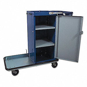 "38""L x 20-1/4""W x 40""H Navy Blue Housekeeping Cart, Number of Shelves: 3"
