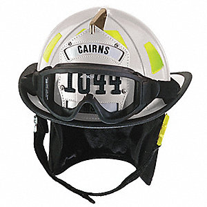 White Fire Helmet, Shell Material: Fiberglass, Ratchet Suspension, Fits Hat Size: 6-3/8 to 8-3/8""