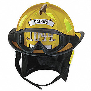 Yellow Fire Helmet, Shell Material: Fiberglass, Ratchet Suspension, Fits Hat Size: 6-3/8 to 8-3/8