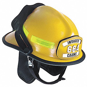 Yellow Fire Helmet, Shell Material: Fiberglass, Ratchet Suspension, Fits Hat Size: 6-3/8 to 8-3/8""