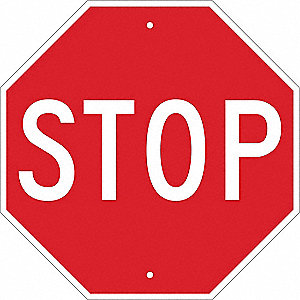 Traffic Sign,18 x 18In,WHT/R,Stop,Text