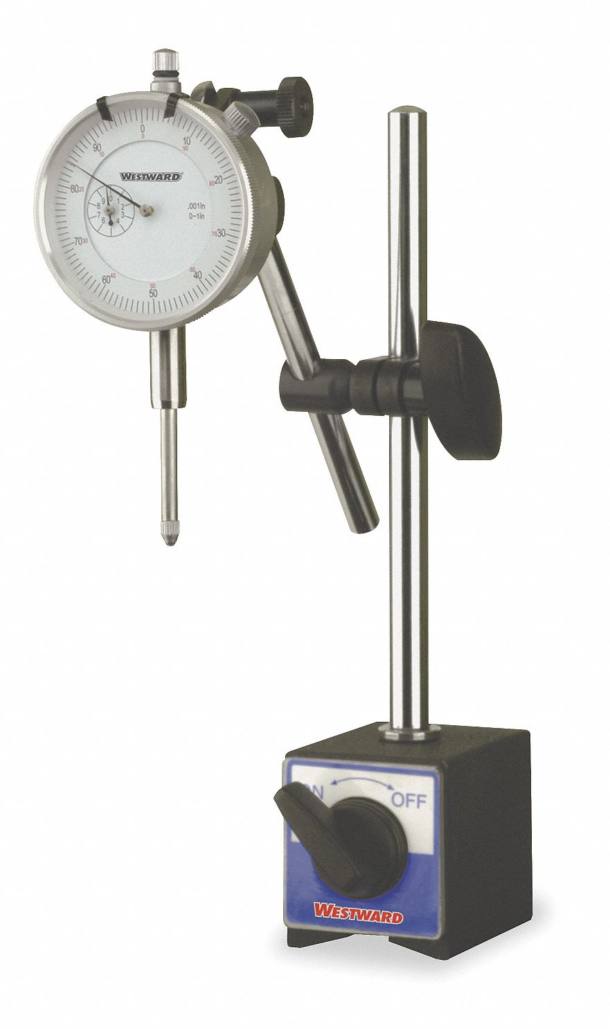 Continuous Reading Dial Indicator & Mag Base Set, 0 to 1 in Range
