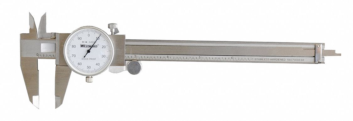 0-6 in Range Stainless Steel Inch Dial Caliper with 0.001 in Graduations