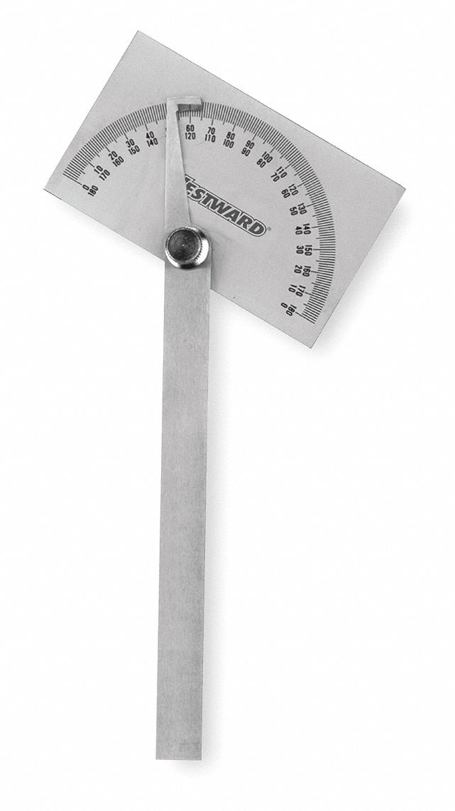Manual-Reading Protractor,  Range 0°to 180°,  Material Steel,  Head Shape Rectangular