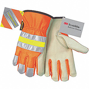 Cowhide Leather Work Gloves, Slip-On Cuff, Hi-Visibility Orange, Size: XL, Left and Right Hand