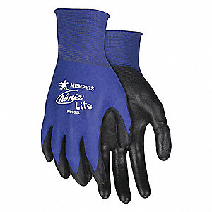 18 Gauge Flat Polyurethane Coated Gloves, Glove Size: S, Black/Blue