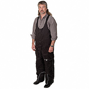 "Men's Cold Storage Bib Overall, Lining Material: Nylon, Inseam: 28"", Fits Waist Size: 40 to 42"", Bla"