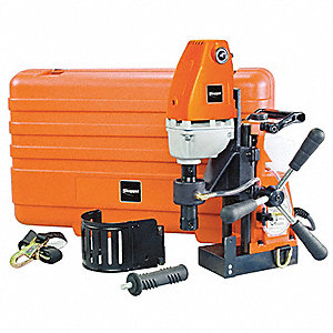 "Magnetic Drill Press, 120VAC, 1-3/8"" Capacity Steel, 450 No Load RPM"