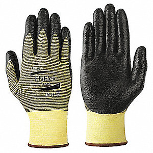 Nitrile Cut Resistant Gloves, ANSI/ISEA Cut Level 2, Kevlar® Lining, Black, Yellow, L, PR 1